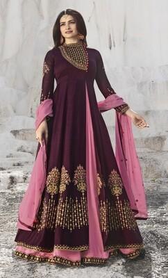 Prachi Desai Satin Georgette Embroidered Semi Stitched Anarkali Salwar Suit