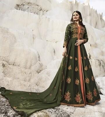 Prachi Desai Designer Viscose Satin Pink Embroidered Semi Stitched Long Anarkali Suit