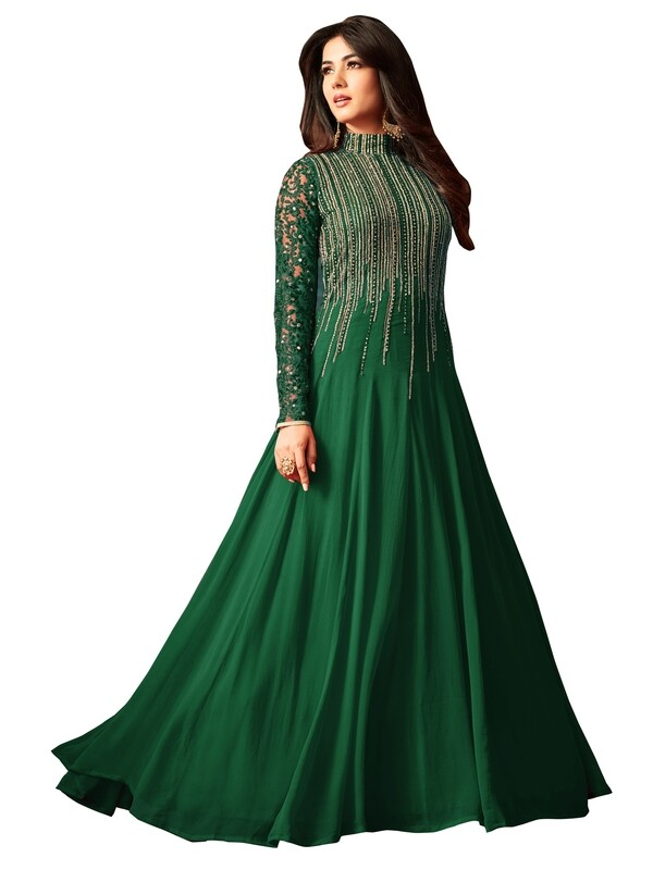Sonal �Chauhan �Designer Georgette Embroidered Semi Stitched Long Anarkali Suit