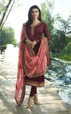 Prachi Desai Peach Georgette Churidar Suit With Silk Dupatta