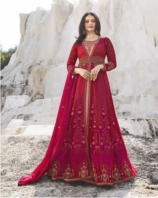 Prachi Desai Designer Nylon Net Embroidered Semi Stitched Long Anarkali Suit
