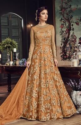 Orange�Party Wear Embroidery Anarkali Suit nylon Net