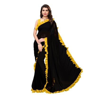 Desinger Yellow And Black Georgette Ruffle Saree 2020