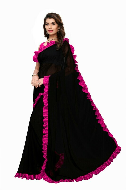 Pink And Black Georgette Ruffle Saree