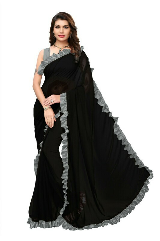 Grey And Black Georgette Ruffle Saree
