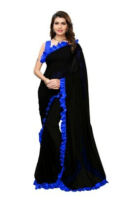 Georgette Blue And Black Ruffle Saree