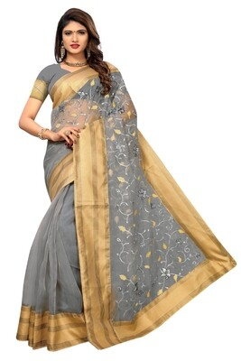 Latest Grey� Embroidered Poly Net Saree With Blouse