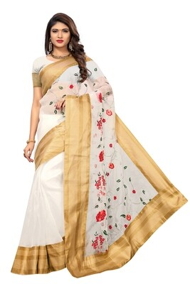 Latest White  Embroidered Poly Net Saree With Blouse