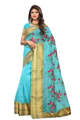 Latest Blue Embroidered Poly Net Saree With Blouse