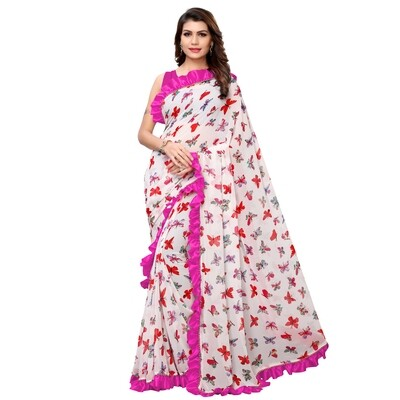 Desinger Pink And White Georgette Ruffle Printed Saree 2020
