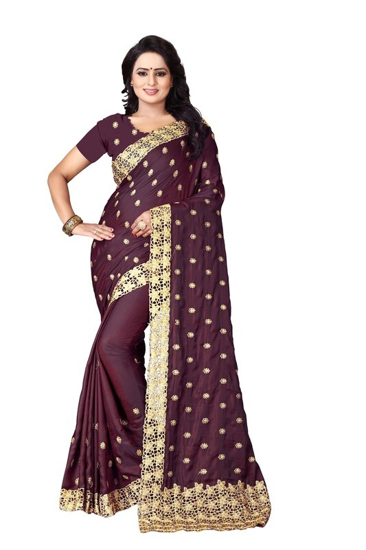 Latest Brown Embroidered Silk Saree 2020