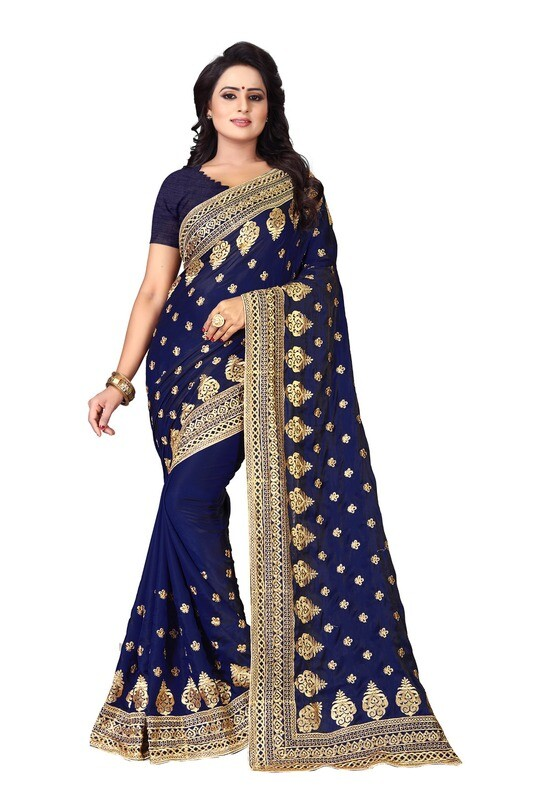 Latest Blue Embroidered Silk Saree 2020