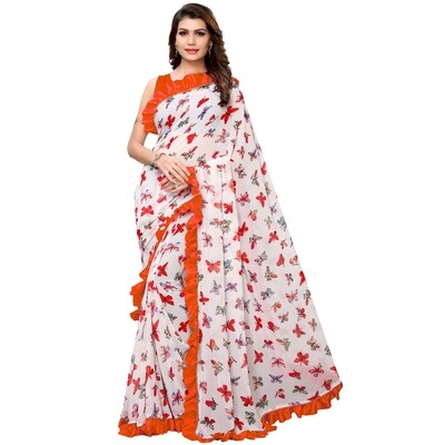 Desinger Orange And White Georgette Ruffle Printed Saree 2020