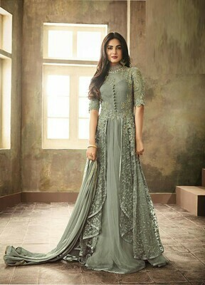 Bollywood Teal Green Color Embroidery Work Suit