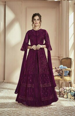 Ethnic Wonderful  Marvellous Wine �Colored Wedding Wear Embroidered Georgette Anarkali Suite