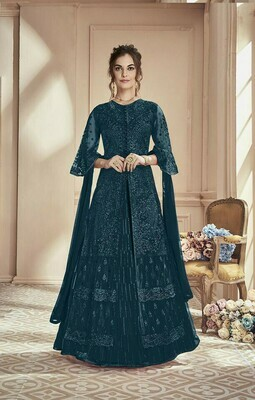 Designer Wonderful Shine Blue �Colored Wedding Wear Embroidered Georgette Anarkali Suite