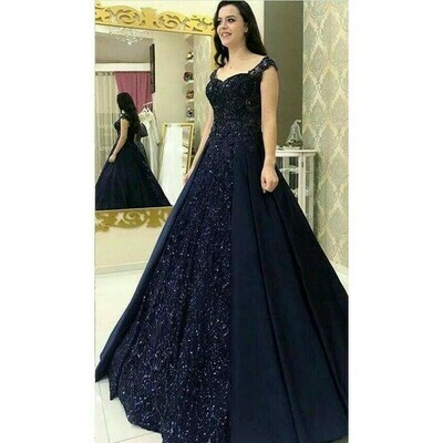 Latest Designer Navy Blue Color Diamond Work Long Gown