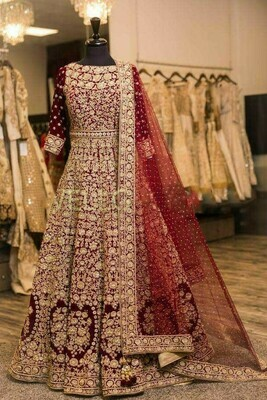 Heavy Wedding Wear Maroon Color Designer Gown