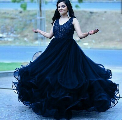 Wedding Wear Blue Color Fancy Gown