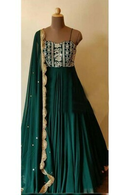 Latest Dark Green Color Georgette With Embroidery Work Long Anarkali Suit