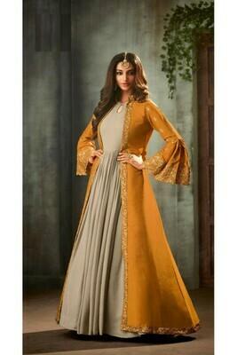 Sunshine Yellow Color Long Jacket Anarkali Heavy Embroidery Salwar Suit