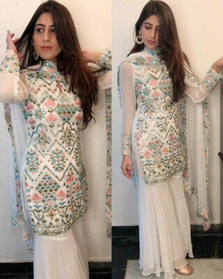 Latest White Color Party Wear Sharara Suit