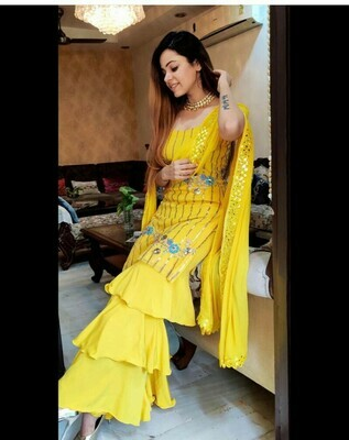 Yellow Colour Georgette With Sequnce Work Salwar Suit