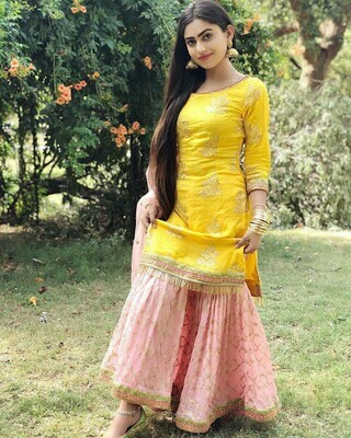 Yellow Color Top With Baby Pink Sahrara Suit