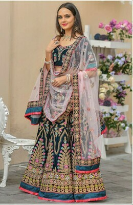 Shining Teal Blue Color Bridal Wear Embroidery Work   Lehenga Choli