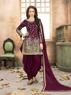Violet Colour Heavy Mirror Work Patiliya Suit