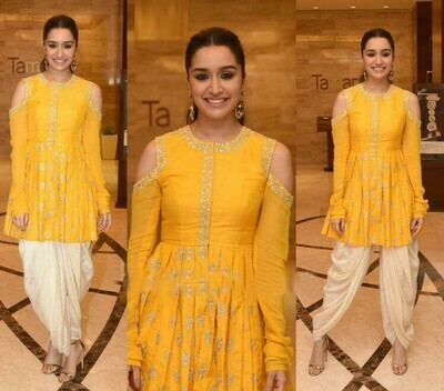 Most Yellow And Cream Color Party Wear Dhoti Suit