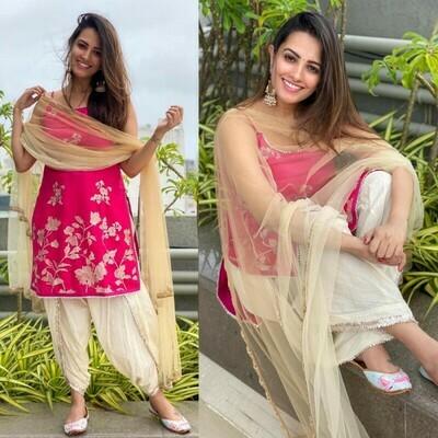 Designer Pink Color Dhoti Patiyala