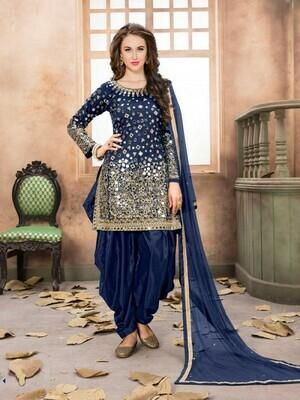 Blue Colour Heavy Mirror Work Patiliya Suit