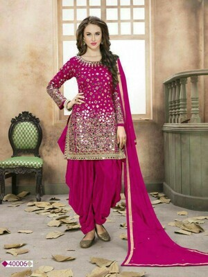 Plum Colour Heavy Mirror Work Patiliya Suit