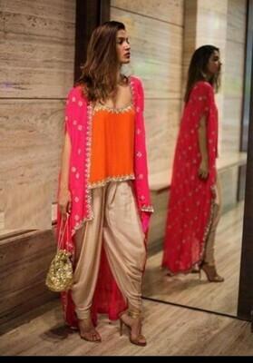 Heavy Silk  Top With Dhoti Patiala