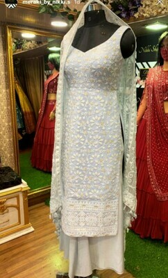 Elegant White Georgette Embroidered Dress