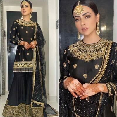 Designer Black Color Sharara Suit For Girl