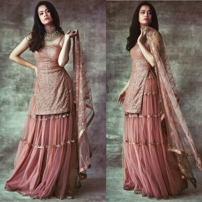 Stylist Brown Color Sharara  Suit