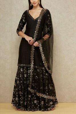 Exclusive Designer Ethnic Wear Black Color Banarasi Silk Sharara