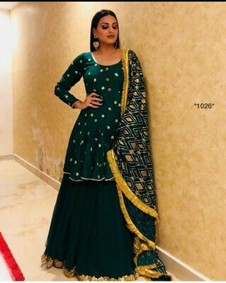 New Stylish Fancy  Black Color Crepe Party Wear Sequence Sharara