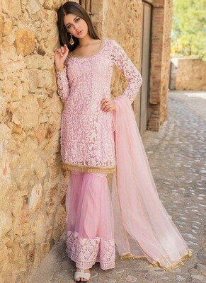 Baby Pink Color Party Wear Sharara Suit