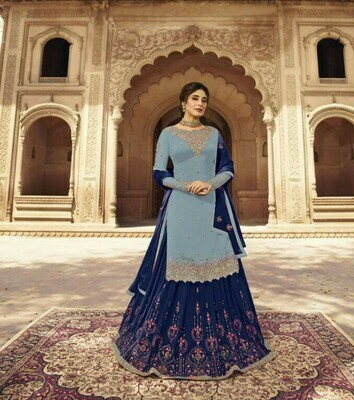 Top Grey Color And Sharara Navy Blue Color Party Wear Sarara  Set