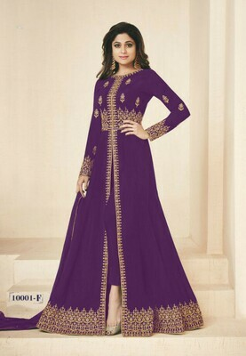 Purple Color Georgette With Embroidery Work Anarkali Suit