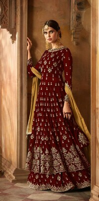 fancy maroon color georgette Anarkali Suit Online