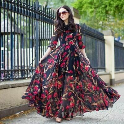 Black Color Georgette Long Gown