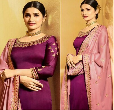 Heavy Embroidery Work Purple Color Suit