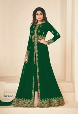 Party Wear Green Color Georgette With Embroidery Work Anarkali Salwar Suit