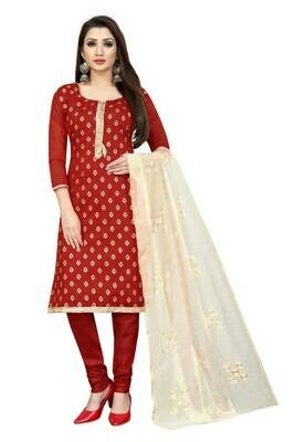 Maroon Color Cotton Silk Salwar Suit For Girls