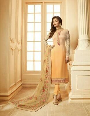 Light Orange Colored Salwar Suit With Dupatta
