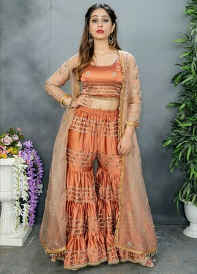 Glowing Exotic Rust Color Party Wear Embroidery Sharara Suit